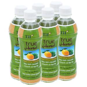 6 chai TH True Herbal rau má, chanh và bạc hà 345ml