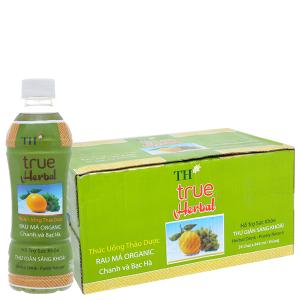 Thùng 24 chai TH True Herbal rau má, chanh và bạc hà 345ml