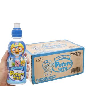 Thùng 24 chai nước trái cây Pororo vị sữa 235ml