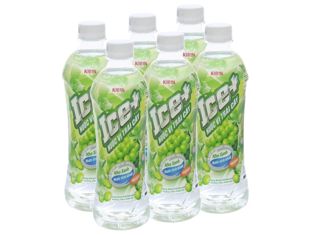 6 chai nước trái cây Ice+ vị nho xanh 490ml 1