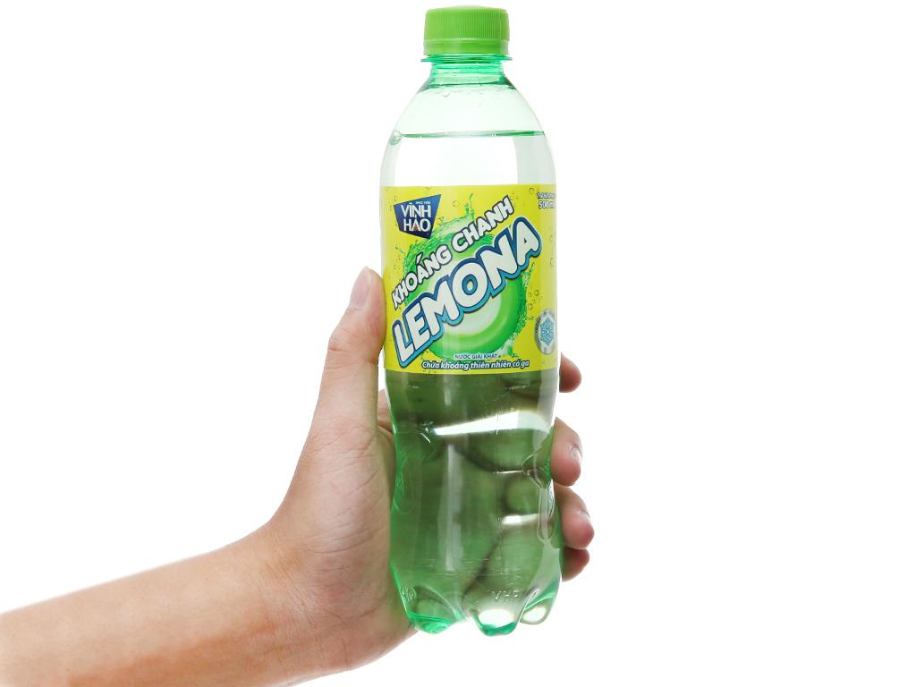 6 chai nước khoáng có ga Vĩnh Hảo Lemona vị chanh 500ml 3