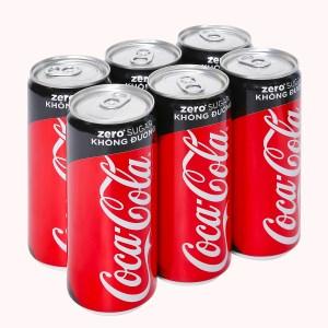 6 lon nước ngọt Coca Cola Zero 320ml