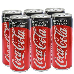 6 lon nước ngọt Coca Cola Zero 330ml
