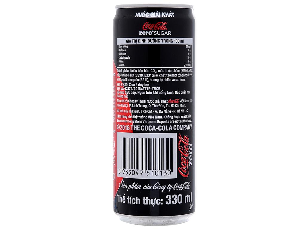 6 lon nước ngọt Coca Cola Zero 330ml 2