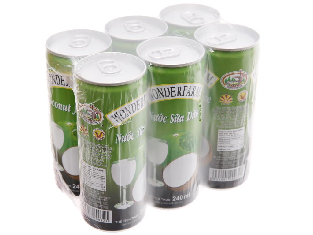 6 lon sữa dừa Wonderfarm 240ml 1