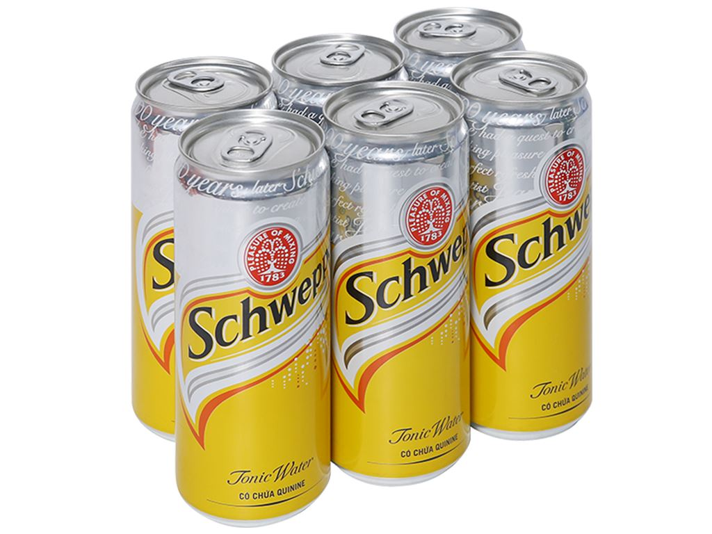 6 lon nước giải khát có gas Schweppes Tonic 330ml 1