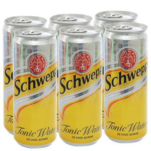 6 lon nước giải khát có gas Schweppes Tonic 330ml