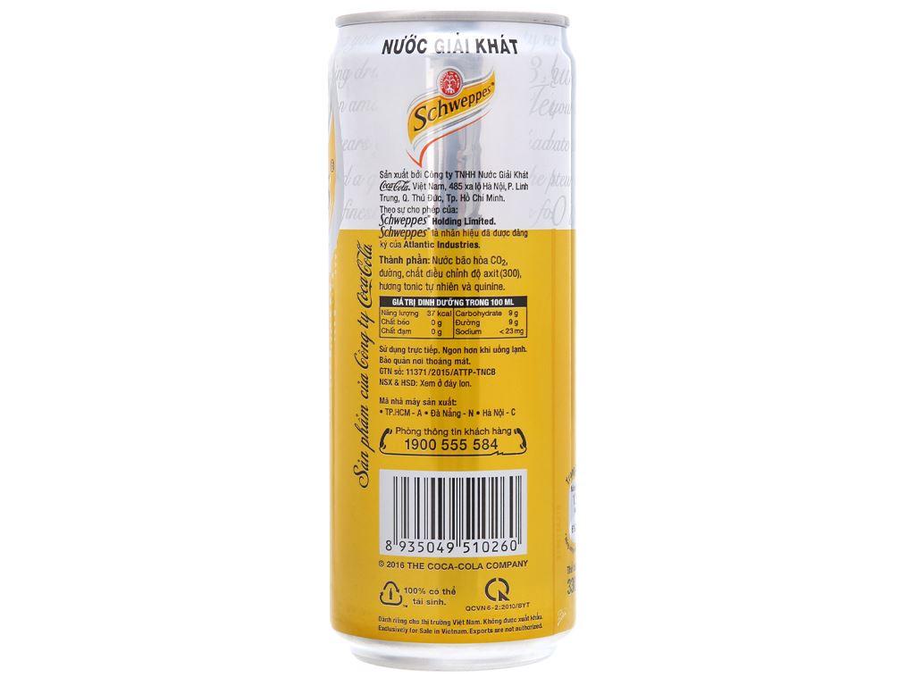 6 lon nước giải khát có gas Schweppes Tonic 330ml 2