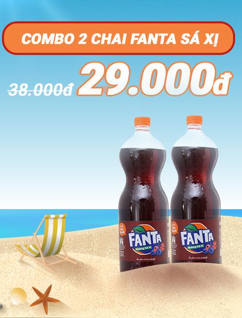 Combo 2 chai nước ngọt Fanta hương sá xị 1.5 lít