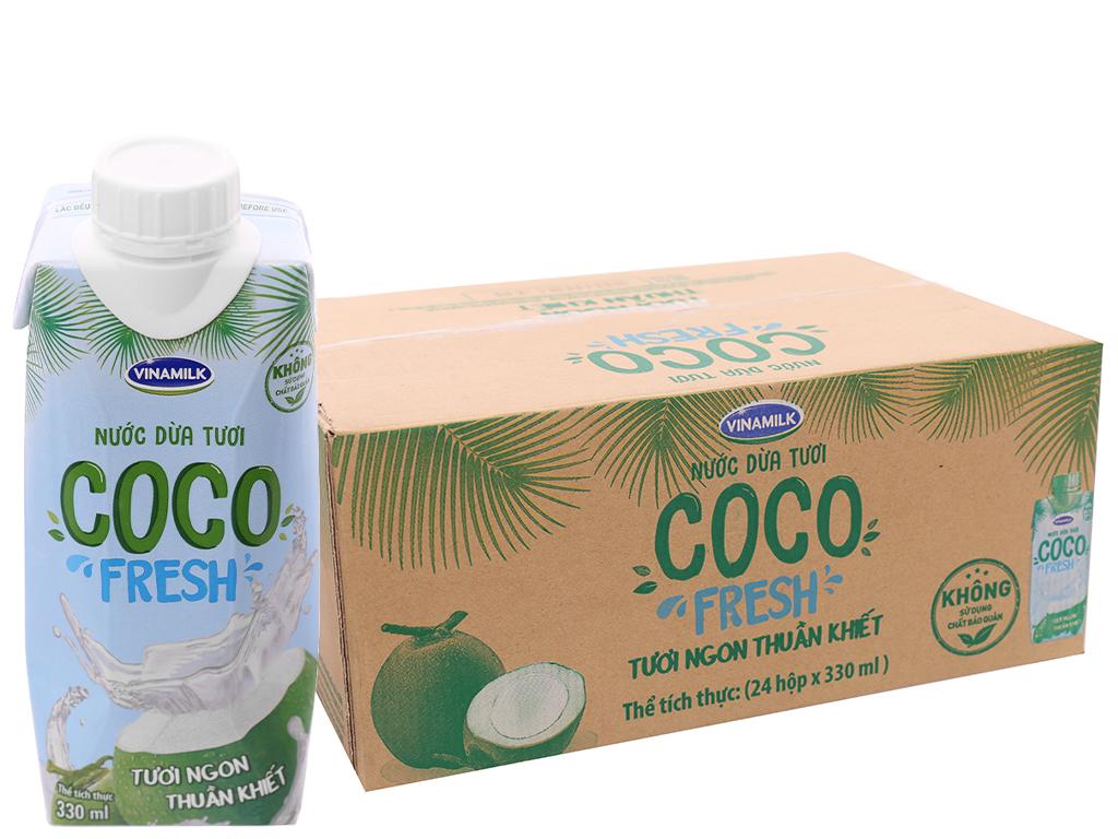Thùng 24 hộp nước dừa tươi Vinamilk Coco Fresh 330ml 1
