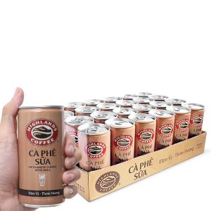 Thùng 24 lon cà phê sữa Highlands 185ml