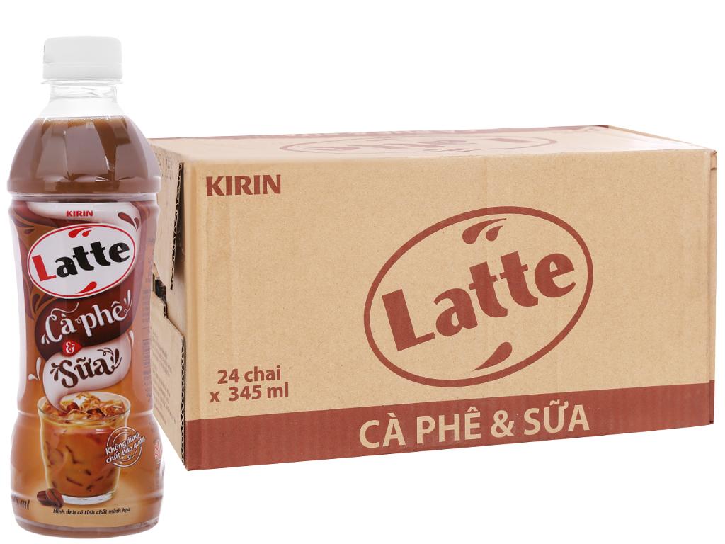 Thùng 24 chai thức uống thiên nhiên pha sữa Kirin Latte cà phê & sữa 345ml 1