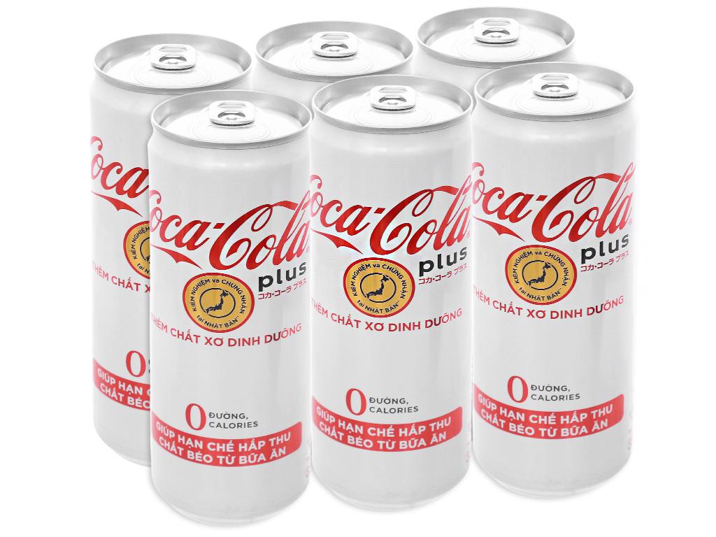 6 lon nước ngọt Coca Cola Plus 330ml 1