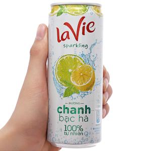 Nước giải khát có gas La Vie Sparkling hương chanh bạc hà 330ml
