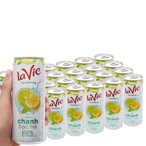 Thùng 24 lon nước giải khát có gas La Vie Sparkling hương chanh bạc hà 330ml