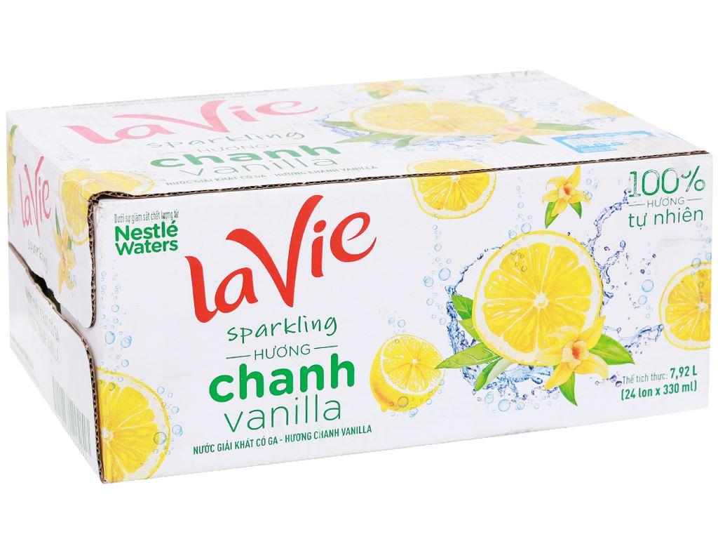 Thùng 24 lon nước giải khát có gas La Vie Sparkling hương chanh vanilla 330ml 1
