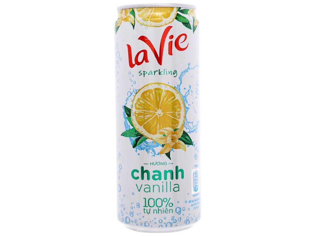 Thùng 24 lon nước giải khát có gas La Vie Sparkling hương chanh vanilla 330ml 6