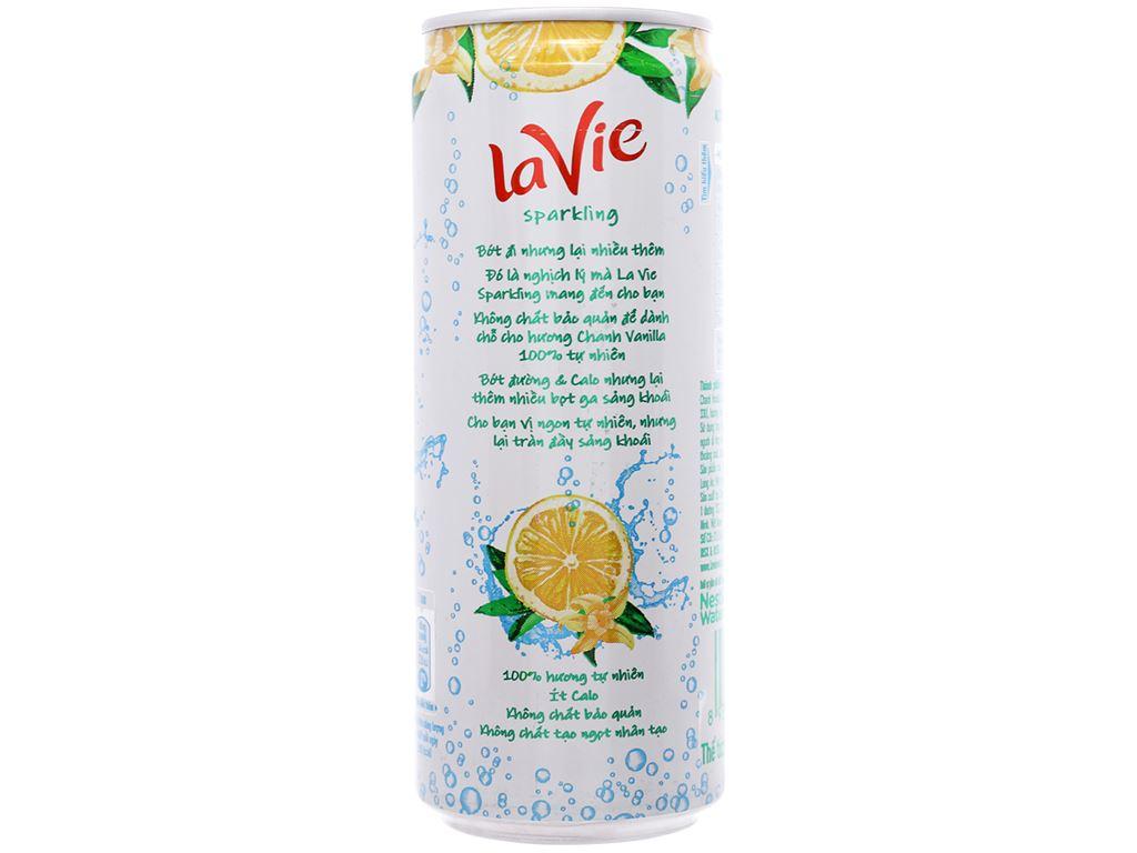 Thùng 24 lon nước giải khát có gas La Vie Sparkling hương chanh vanilla 330ml 7