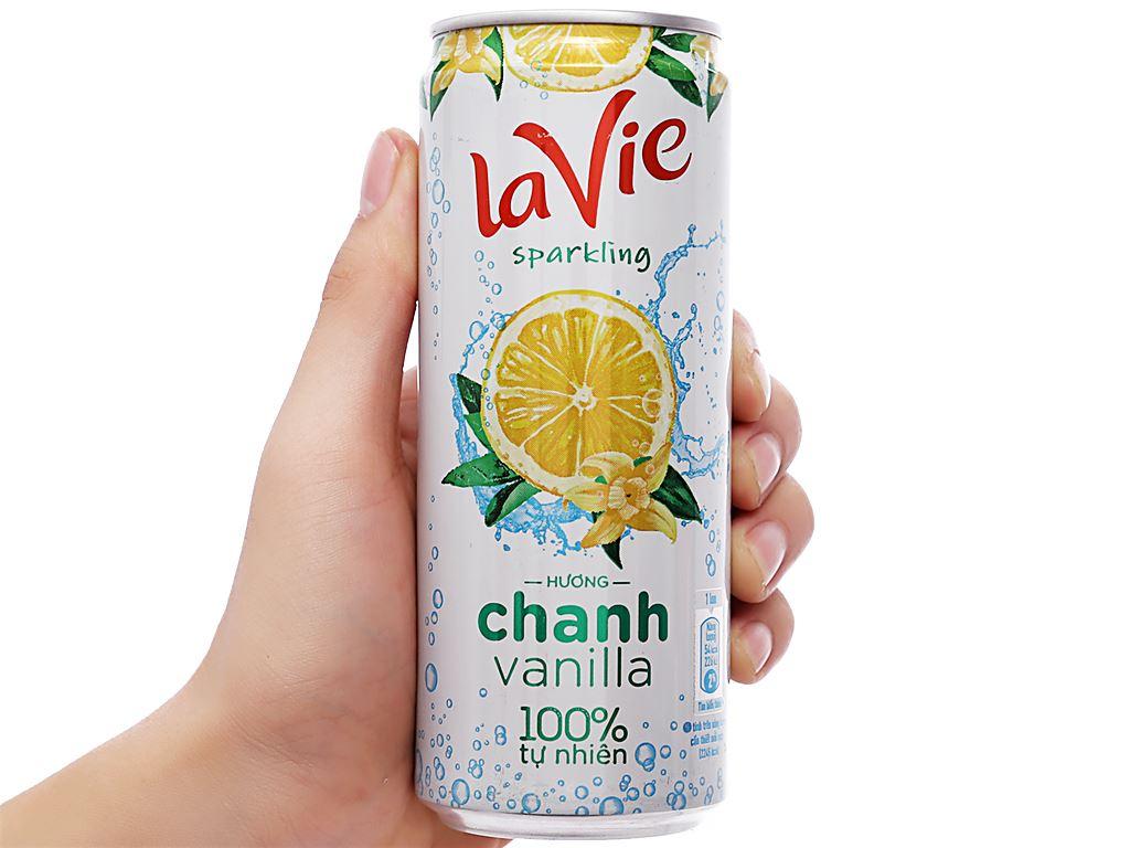Thùng 24 lon nước giải khát có gas La Vie Sparkling hương chanh vanilla 330ml 8