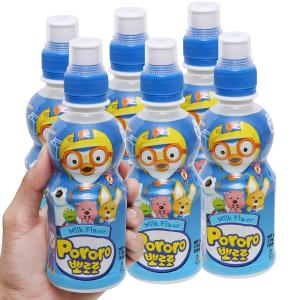 6 chai nước trái cây Pororo vị sữa 235ml