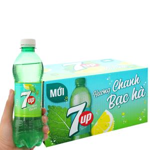 Thùng 24 chai nước giải khát 7 Up Mojito hương chanh bạc hà 390ml