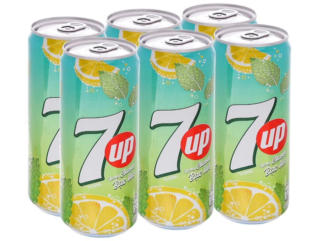 6 lon nước giải khát 7 Up Mojito hương chanh bạc hà 330ml 1