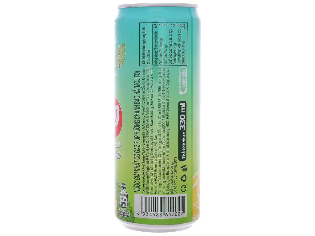 6 lon nước giải khát 7 Up Mojito hương chanh bạc hà 330ml 3