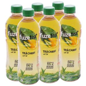 6 chai trà chanh với sả Fuze Tea+ 450ml