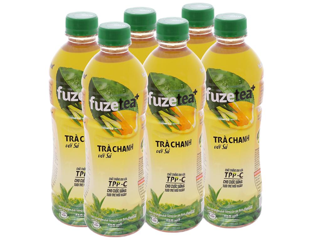 6 chai trà chanh với sả Fuze Tea+ 450ml 1