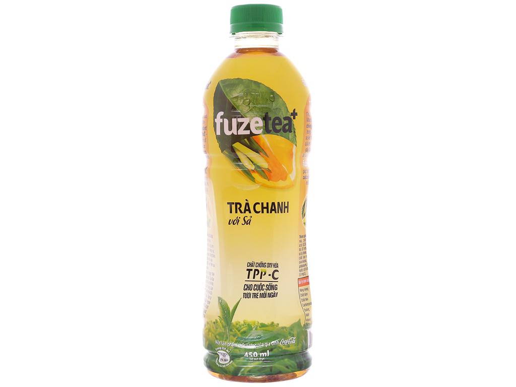 6 chai trà chanh với sả Fuze Tea+ 450ml 4
