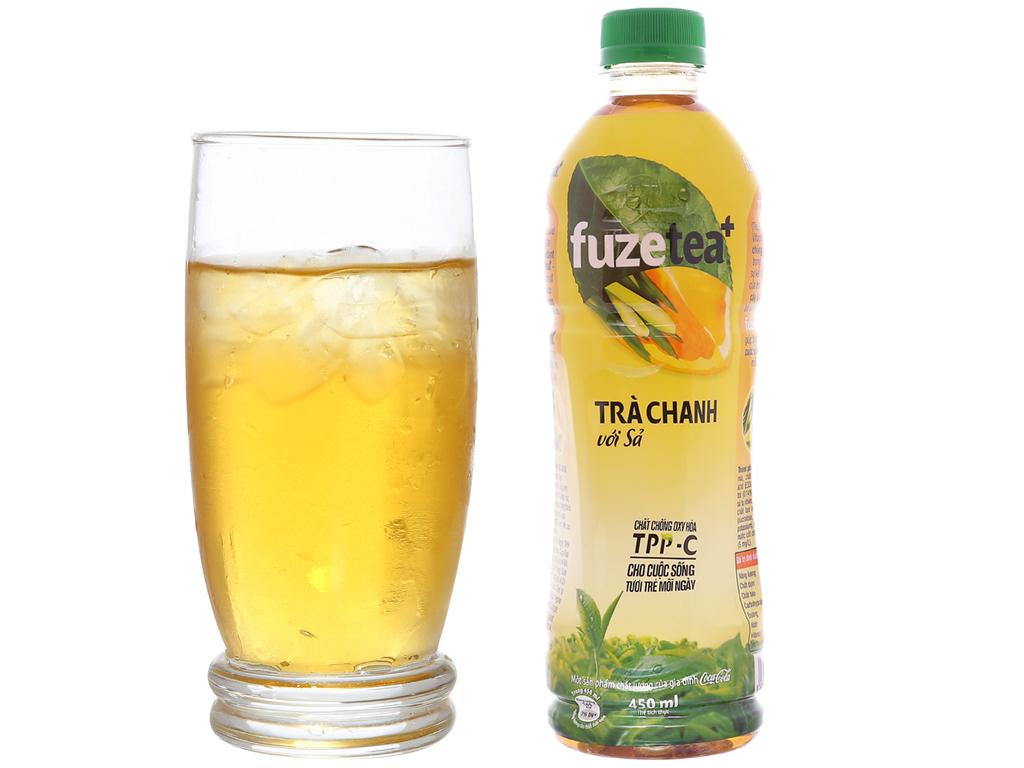 6 chai trà chanh với sả Fuze Tea+ 450ml 5