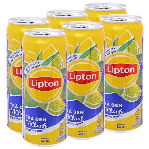6 lon trà đen Lipton vị chanh 330ml