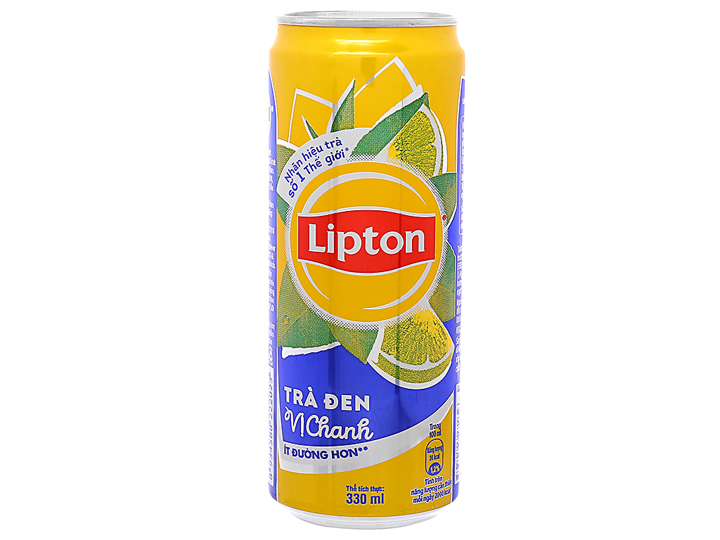 6 lon trà đen Lipton vị chanh 330ml 2
