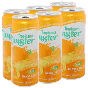 6 lon nước cam ép Twister Tropicana 320ml