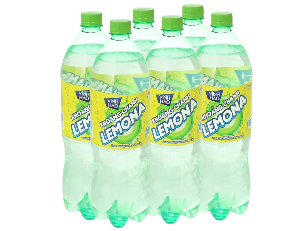 6 chai nước khoáng có ga Vĩnh Hảo Lemona vị chanh 1.5 lít 1