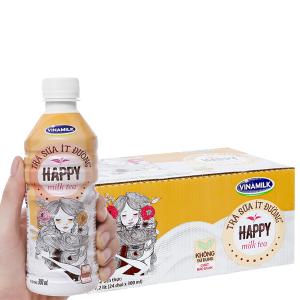 Thùng 24 chai trà sữa ít đường Vinamilk Happy 300ml