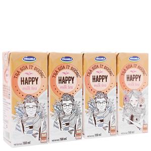 Lốc 4 hộp trà sữa ít đường Vinamilk Happy 180ml