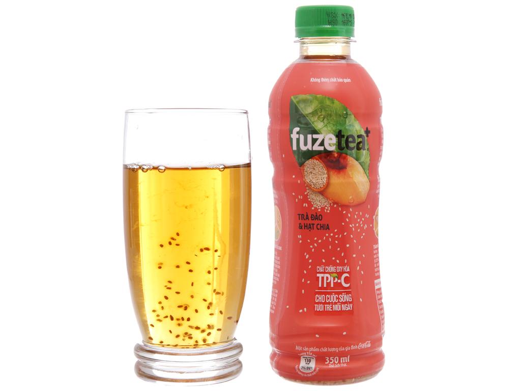 24 chai trà đào và hạt chia Fuze Tea+ 350ml 4