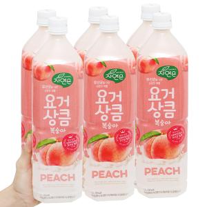 6 chai nước ép lợi khuẩn Woongjin vị đào 1.5 lít