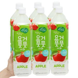 6 chai nước ép lợi khuẩn Woongjin vị táo 1.5 lít