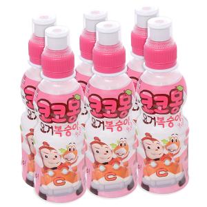 6 chai nước uống tổng hợp Kokomong vị đào 200ml
