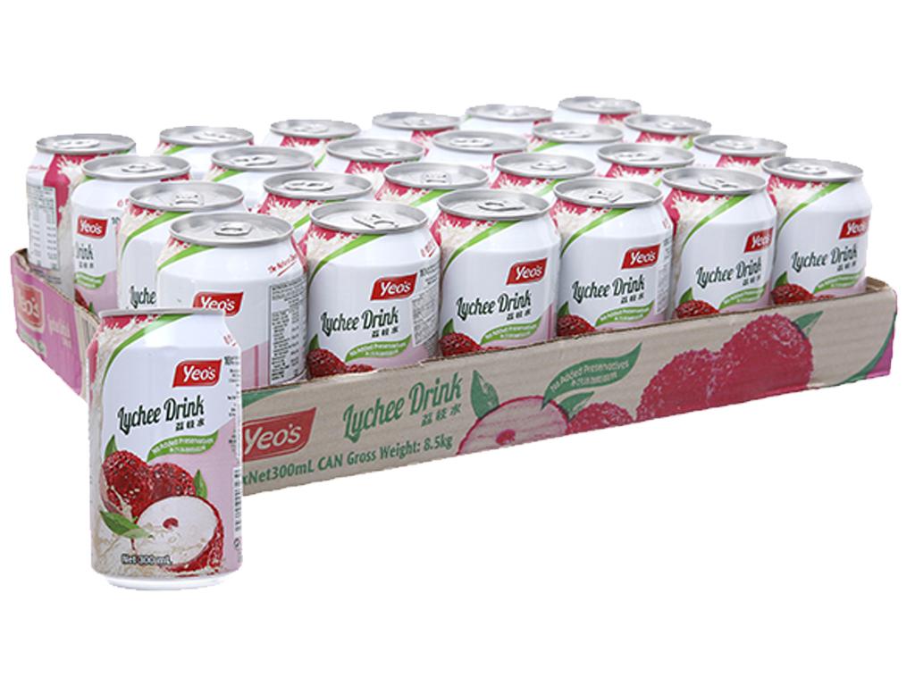 24 lon nước trái vải Yeo's 300ml 1