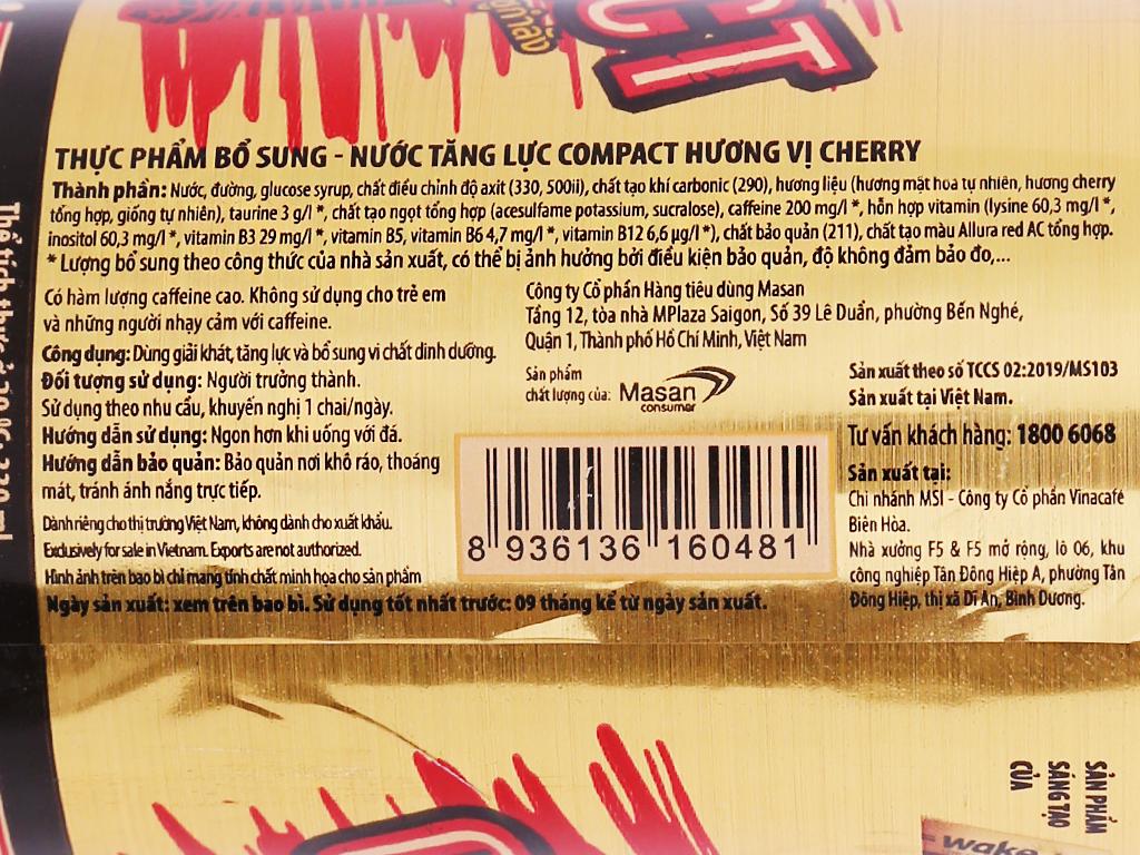 Thùng 24 chai nước tăng lực Compact vị cherry 330ml 4