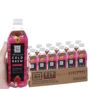 12 chai hồng trà Teas' Tea Organic Cold Brew vị phúc bồn tử 500ml