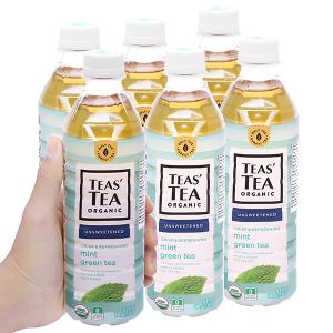 6 chai trà xanh Teas' Tea Organic bạc hà 500ml