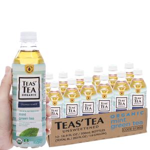 12 chai trà xanh Teas' Tea Organic bạc hà 500ml