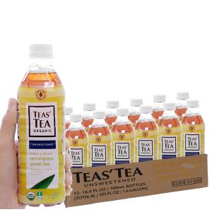 12 chai trà xanh Teas' Tea Organic sả 500ml
