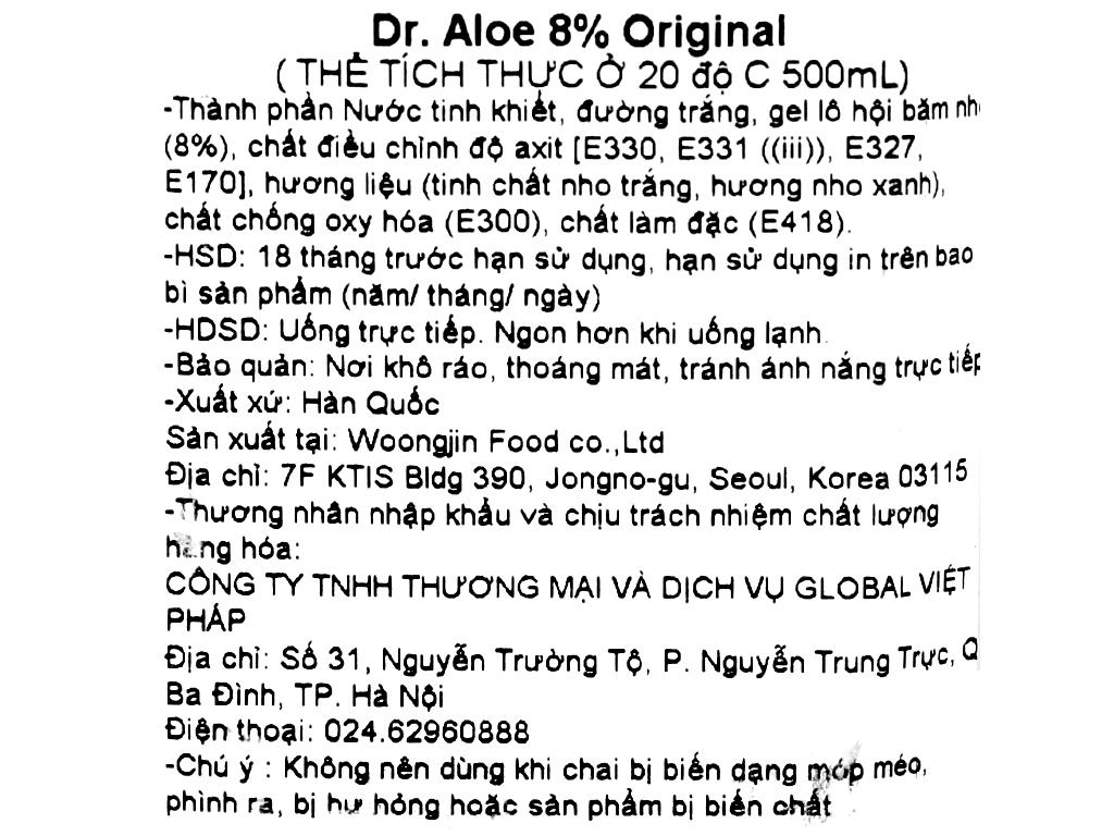 Nước nha đam Woongjin Zaiyeonun Aloe 8% 500ml 4