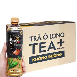 Thùng 24 chai trà ô long Tea Plus không đường 455ml