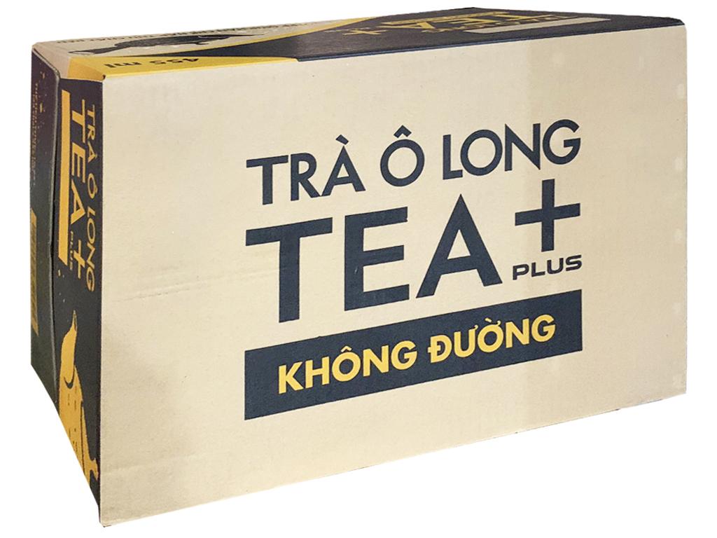 Thùng 24 chai trà ô long Tea Plus không đường 455ml 5